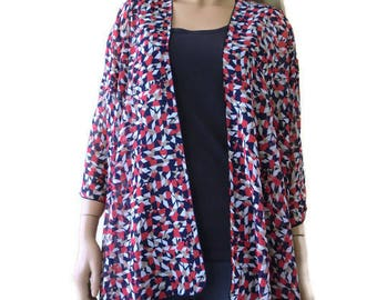 Kimono cardigan - Million little pieces in Red White and blue -Chiffon Ruana cardigan