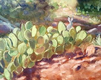 Original southwest rabbit cactus oil painting, desert landscape art,wall decor,home decor, antelope hare art,original oil janice trane jones