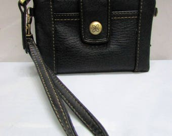 Vintage NOS Relic Black Soft Faux Leather Wallet Clutch Purse - currency ids credit cards change compartments