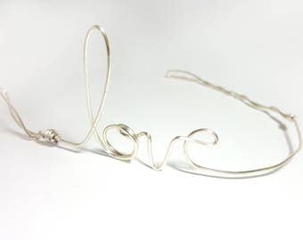 I love your headband - silver wire love hair band - lightweight metal headband