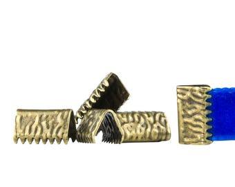500pcs. 10mm or 3/8 inch Antique Bronze No Loop Ribbon Clamp End Crimps - Artisan Series