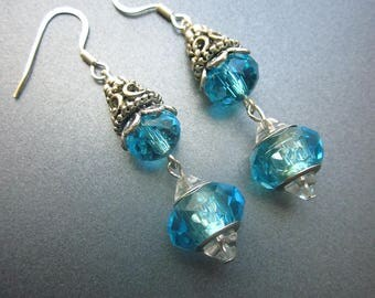 Blue Swarovski Crystal Dangle Earrings Something Blue