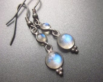 SALE Antique Moonstone Sterling Silver Dangle Drop Earrings