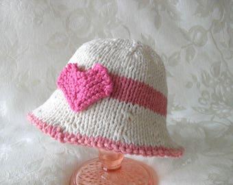 Baby Valentine Hat Knitting Knit Baby Hat Hand Knitted  Brimmed  Baby Hat  Cotton Knit  Baby Hat Valentine Day Baby Hat Knitted Heart Hat