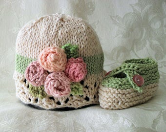 Baby Hat Knitting Knit Baby Hat Hand Knitted Baby Cloche  Cotton Knitted Hat Knit Baby Hat with flowers Baby Knitted Hat with Rose