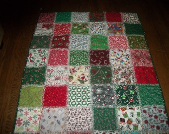 Christmas Lapsize Adult Rag Quilt *NEW* Homemade
