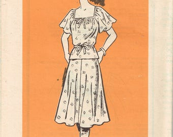 70s Plus Sized Two Piece Dress Pattern Anne Adams Flirty Feminine Summer Top and Skirt Square Neck  Uncut Vintage 1979 Sewing Pattern