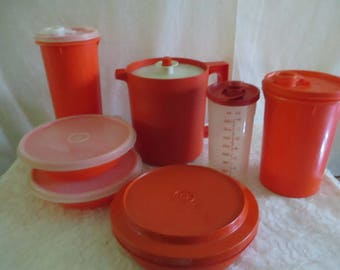 Orange Tupperware  Pitcher 1 Qt, bowls, Slimline, handolier 7 items