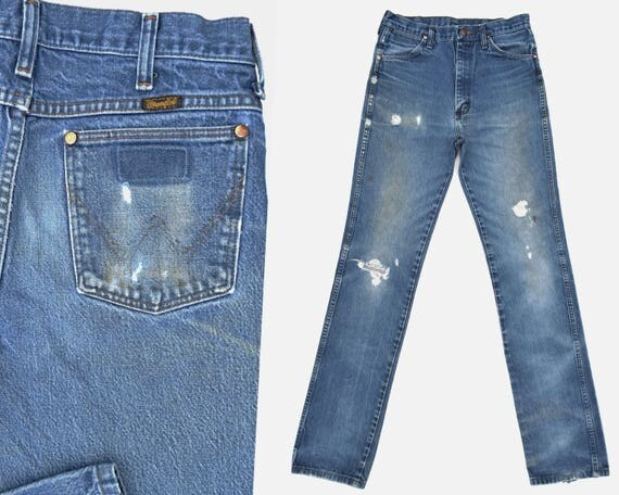 Vintage Wrangler Distressed faded cotton denim jeans 36 x 31 Vintage Denim Classic Jeans perfectly faded / Washed Out straight leg 74IDSOzix