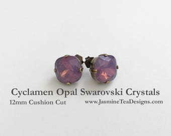 Cyclamen Opal Swarovski Earrings, 12mm Cushion Cut Swarovski Crystals, Set In Vintage Patina Antique Brass, Post Setting, Stud Earrings