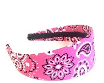 Paisley Bandana Headband - Handkerchief Print Headband - Big Girl, Adult or Women's Headband - Choose color and width