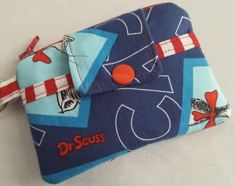 Zipper Mini Wallet Pouch Key Chain Dr Seuss  Blue  Boxes Card holder -