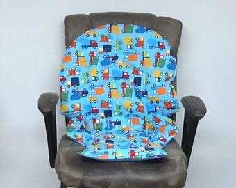 high chair cushion, Graco Duodiner or Graco Blossom, baby accessory replacement cover, kids furniture protector, baby feeding pad, trucks