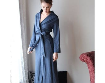 long plush robe in cotton french terry - WAFFY loungerie and loungewear range - made to order