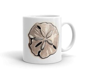 Beach Home Ceramic Mug . Coffee Mug . Tea Mug . Sand Dollar Beach Art . Watercolor Painting . Beach House Decor