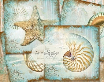 SALE 30% OFF - COASTERS Shabby Sea Shells - Digital Collage Coasters - Digital Maritime Tags - Nautical Images - Scrapbooking Backgrounds -
