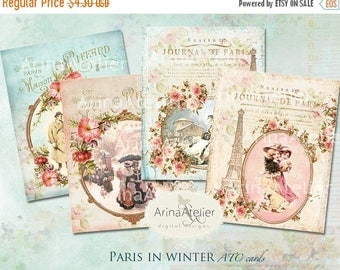 SALE 30%OFF - Paris in Winter - ATC Cards - Christmas Cards - Digital Tags - Digital Download Sheet - Shabby chic cards