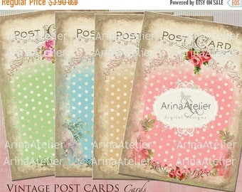 SALE 30%OFF - CARDS Vintage Post Cards - 3.5 x 4.9 inch, set of 4 cards, Shabby Chic Digital Cards - Scrapbooking, Digital Tag, Digital Coll