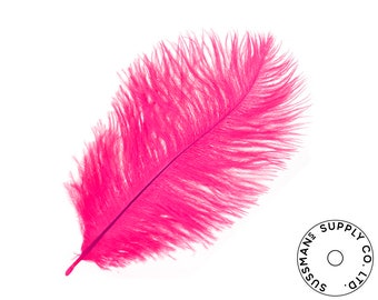 "Ostrich Feathers - Wholesale Wedding Feathers Ostrich Drab Plumes - Hot Pink - 10pcs (14-17"")"