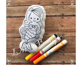 Mermaid doll, Mermaid coloring doll, Mermaid stuffed doll, Mermaid birthday, Mermaid party favor, Mermaid toy, Mermaid doodle it