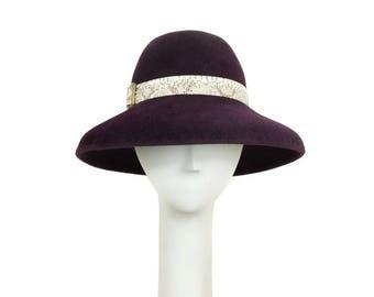 Aubergine Wide Brim Hat for Women, Wedding Hat, Mother of the Bride Hat, Elegant Hat, Ladies Winter Hat, Dress Hat, Handmade Hat, Millinery