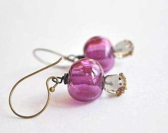 SALE Purple Hollow Glass Earrings - Light Weight Earrings
