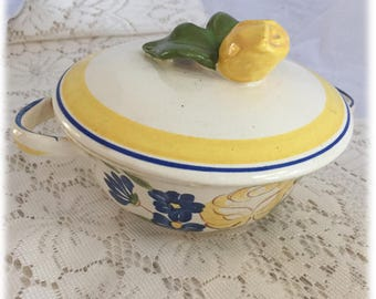 Red Wing China BRITTANY Cream SOUP & LID Set, Yellow Rose Blue Flowers, Hand Painted, Cottage, Farmhouse