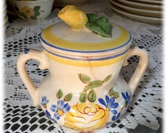 Red Wing China BRITTANY SUGAR Bowl and Lid, Yellow Rose Blue Flowers, Hand Painted, Cottage, Farmhouse, Shabby