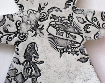 Tea Time JuJu - Alice in Wonderland Home Decor - Ceramic Wall Hanging - Black and White