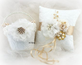 Ring Bearer Pillow, Flower Girl Basket, White, Tan, Beige, Champagne, Gold, Elegant Wedding, Vintage Style, Lace, Brooch, Pearls, Crystals