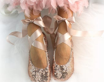 Rose Gold Wedding Ballet Flats,Sequin Wedding Flats,Rose Gold Ballet Slippers,Flower Girl Flats,Custom Wedding Shoes,Bling Wedding Shoes