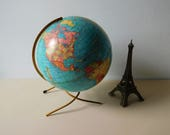 Vintage 1950s world globe Spinning globe of the world Table top globe