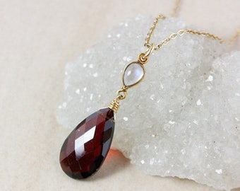 ON SALE Rainbow Moonstone and Red Garnet Necklace – 14K Gold Filled Chain