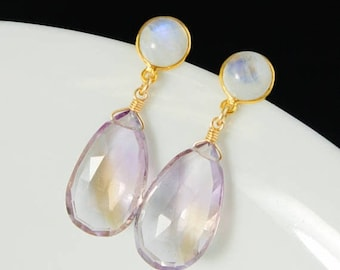 ON SALE Rainbow Moonstone & Purple Ametrine Teardrop Earrings - Post Setting - Gold or Silver
