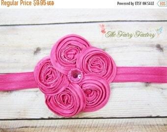 Hot Pink Flower Headband - Posh Beaded Hot Pink Satin Swirl Flower Headband or Hair Clip - Baby Toddler Child Girls Headband