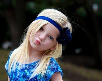 Royal Blue Flower Headband, Satin & Tulle Flower Puff Headband or Hair Clip, Infant Baby Toddler Child Girls Headband