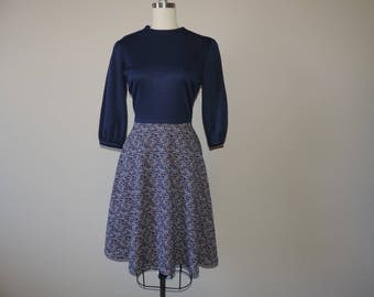 vintage navy mod dress 1960s static print a-line skirt campus chic large