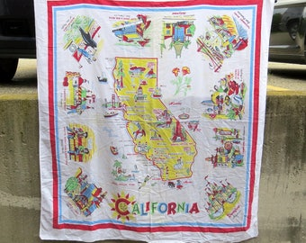 California State Souvenir Table Cloth with Disneyland Vintage 1950s Table Cloth - 43 inches x 47 inches - Bright Colors and Graphic Designs
