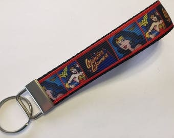Wonder Woman Comic Book Style Key Fob Keychain wristlet