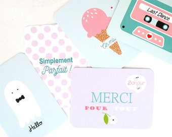 Set of 5 mini cards * pastel *.
