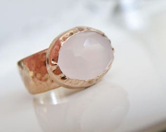 Artisan Chunky Vintage 18K Rose Gold SOLID Sterling Silver 925 Rose Pink Quartz Ring Size 7.5