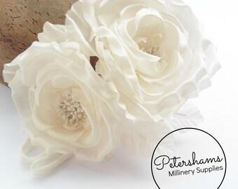 Silk 'Fiona' Double Rose Millinery Fascinator Flower Hat Mount - Ivory