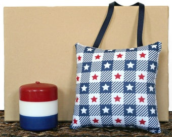 Stars and Stripes Door Hanger Pillow Patriotic Fourth of July Americana Red White Blue Rustic Primitive Decorative