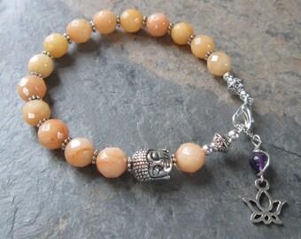 Quartz & Amethyst Buddha Bracelet - Lotus Charm - Golden Cream Quartz Natural Gemstones  - Chakra / Yoga / Metaphysical Jewelry