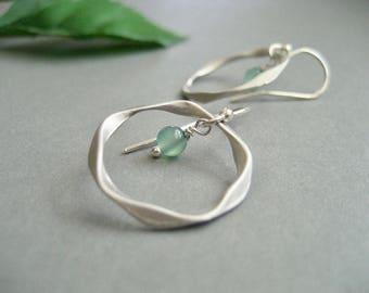 Sterling Silver Hoop Earrings, Open Hoop Earrings, Twisted Earrings, Open Circle Earrings with Stone, Sweet Earrings for Everyday Wear