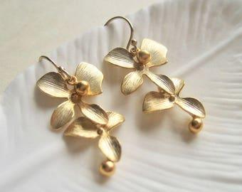 Gold Filled Orchid Earrings, Flower Earrings, Orchid Flower Drop Earrings, Gold Orchid Earrings, Gold Bridal Earrings, Flower Girl Gift