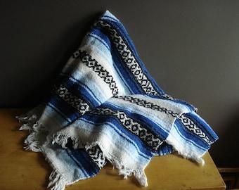 Let's Have a Picnic - Vintage Black, Blue, and White Falsa Blanket
