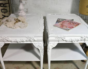 Painted Cottage Chic Shabby Pair of End Tables ENT150