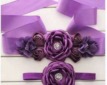 Women child baby satin Rhinestone flowers wedding dress flower girl comunion birthday baptism sash belt purple lavender and headband 2pc set