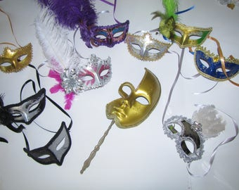 Mask mardi gras feather masks masquerade party favors centerpieces wedding 6 piece lot custom made you choose colors Free shipping